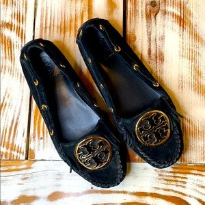 Tory Burch Black Suede Loafer Shoe Size 6.5